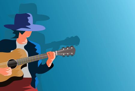 A man wearing a hat is playing an acoustic guitar with a blue background.