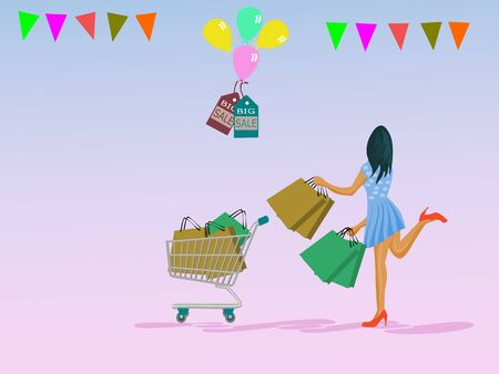 A woman is carrying a paper bag and putting a cart in which she goes shopping. With balloons, labels, discounted colored paper products on the top. Pink background