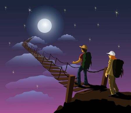 A male and female backpack carrying a backpack is about to walk up a wooden bridge that leads to the moon. With lunar and blue sky as background