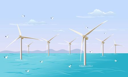 Group of  turbine generates electricity for the wind in the sea. with the sky in the background