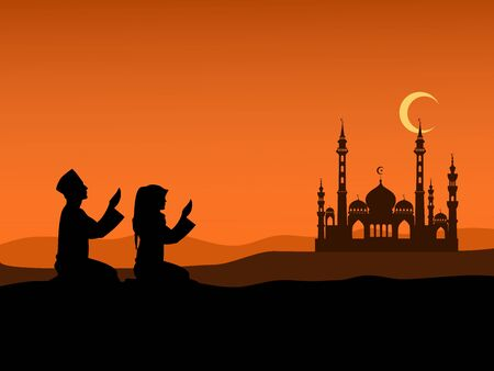 Silhouette of Men and women of Islam sit on the hill to pray at sunset. With Islamic churches and mountains in the background