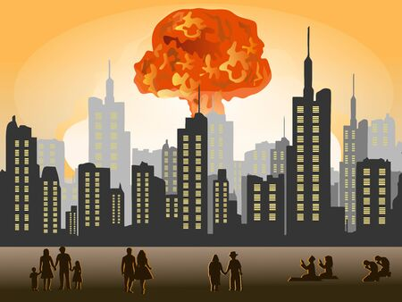Nuclear explosion. Atomic bomb in city.people were standing in awe and some were praying.