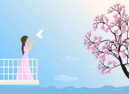 The girl stood on the balcony, she stretched out her hand and waited to receive the flying pigeon. With cherry blossoms and the sky as the background