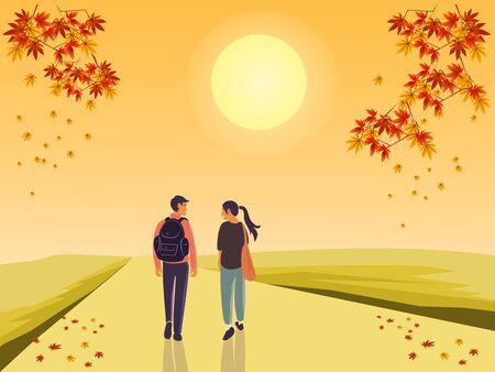 Men and women carrying bags on the way.maple autumn on top .yellow sun  and yellow sky background