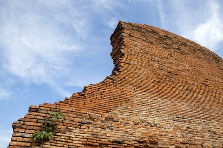 Wall of ruins temple at Ayutthaya