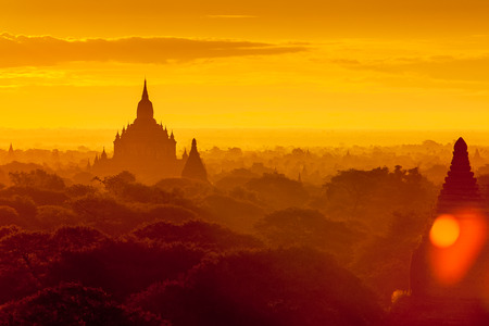 Sunrise over Bagan temples, Myanmar. photo