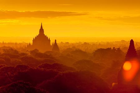 Sunrise over Bagan temples, Myanmar. photo