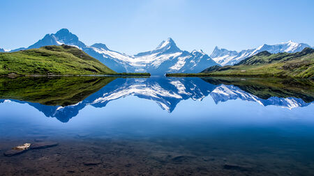 Reflection of the famous Matterhorn in lake, Zermatt, Switzerland photo