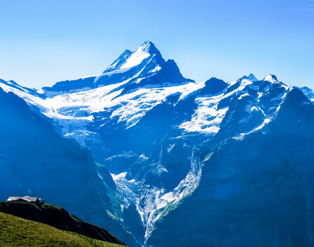 Famous Eiger, Monch and Jungfrau mountains in the Jungfrau region 写真素材