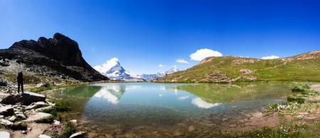 Reflection of the famous Matterhorn in panorama, Zermatt, Switzerland.