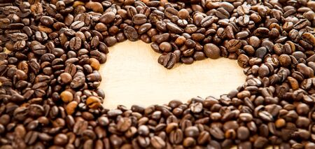 love pic: Roasted coffee beans heart shape for background