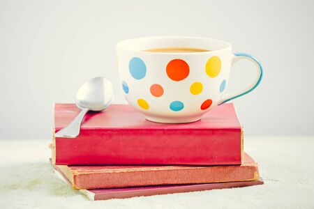 love pic: Coffee cup on the books Stock Photo