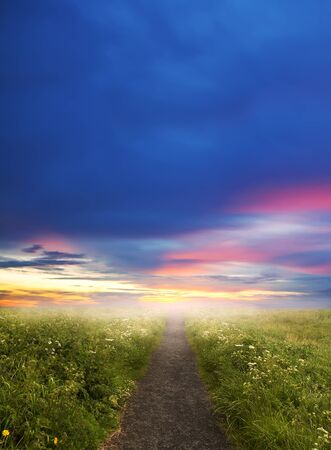 Evening road in steppe to sunset photo