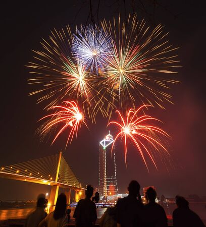 fireworks: silueta de sus habitantes disfrutar viendo espect�culo de fuegos artificiales en el cielo nocturno