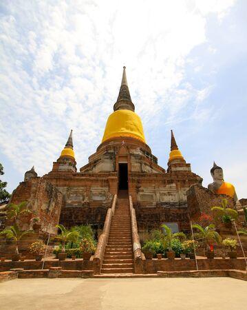 chaimongkol: Wat Yai Chaimongkol, ancient temple in Ayutthaya, Thailand Stock Photo