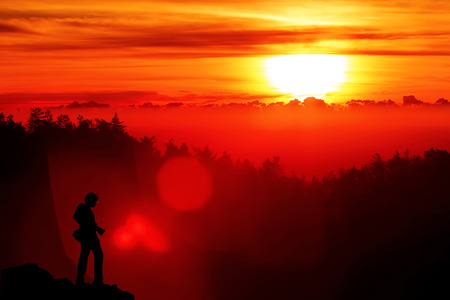 flare stack: Beautiful Sunlight when sunrise on mountain with Landscape Photographer, Copyspace