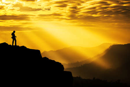 flare stack: Beautiful Sunlight Rays on mountain with Landscape Photographer, Copyspace