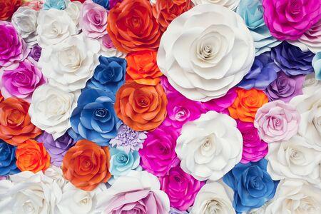 wedding backdrop: Colorful paper flower for backdrop wedding wallpaper.