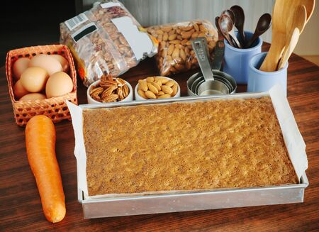 home baked: Home baked carrot cake on table.