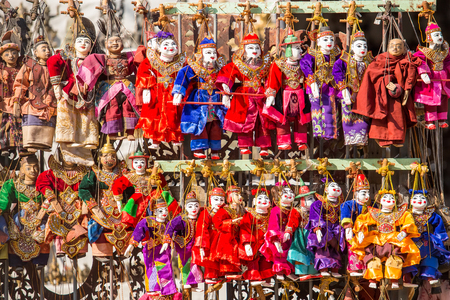 Puppet souvenir, Myanmar tradition dolls. Stock Photo