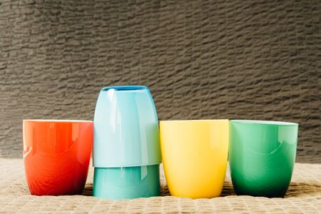 colrful: Colorful coffee cups on grunge background