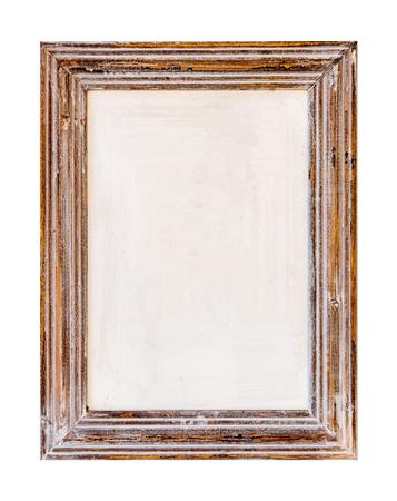 木製フレーム。白い背景の素朴な木製フレーム