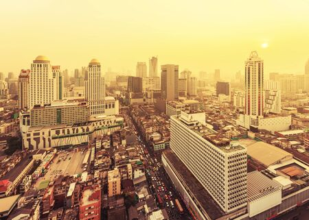top down car: City at the misty sunset in Bangkok, Thailand.