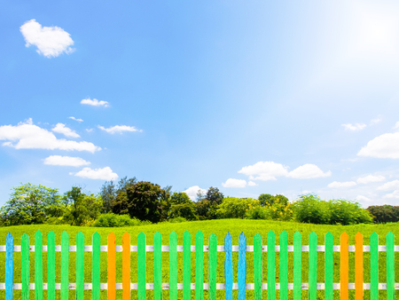 Colorful wooden fence with green grass in garden, clear blue sky with cloud