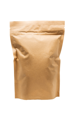 Brown paper bag packaging with valve and seal Stock Photo