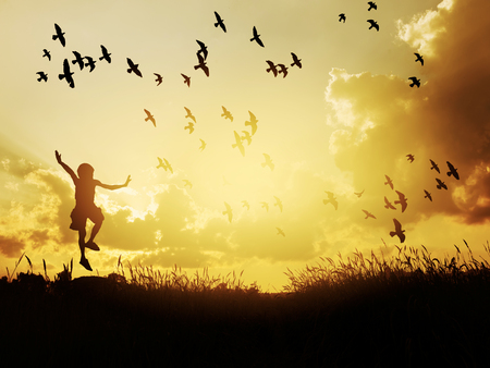 Happy child jumping with birds in sunset sky.