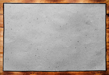 Old Wooden Frame With Blank Paper Retro Message Board Stock Photo