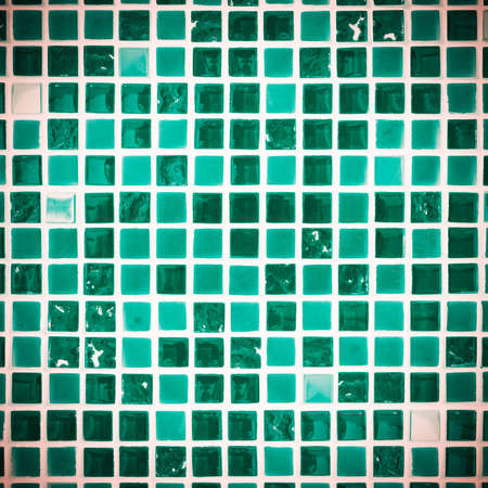 mosaic floor: Wall or floor mosaic tiles in green and blue tone. Stock Photo