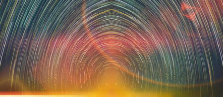 Star trails movement at night with abstract fantasy light.
