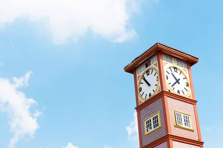 Street clock against blue sky and cloud with copy space.