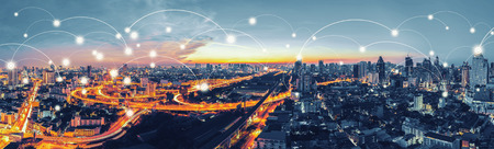 Network and Connection technology concept with Bangkok Expressway top view in panorama at sunrise, Thailand.
