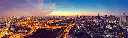 Bangkok Expressway top view in panorama at sunrise, Thailand.