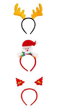 cintillos: bandas para la cabeza de Navidad, decoración para la víspera de Navidad aislado en el fondo blanco. Foto de archivo