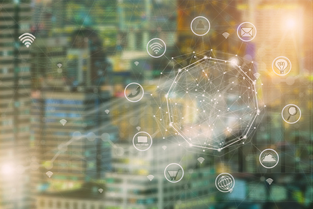 Smart city and wireless communication network, abstract image visual, E-commerce smart connection business. Internet of things . Stock Photo