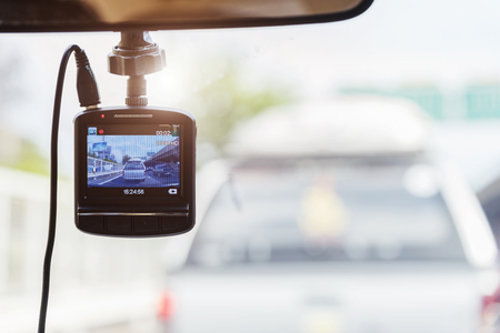 Recorder camera in front of car for safety on the road. Banco de Imagens - 102309038