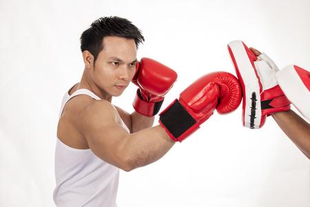 Sport man boxing on white background. Stock fotó