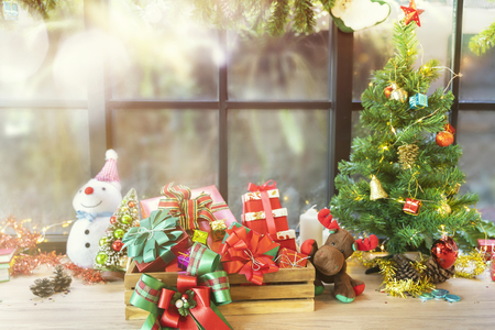 Merry Christmas celebration concept. Christmas tree , gift boxes and accessories decorated at home.
