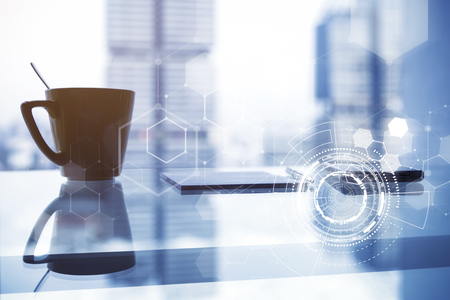 Modern technology icons with coffee cup on table with blurred city background. Business and technology concept.