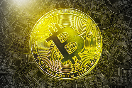 Bitcoin concept. Golden bitcoin with golden pattern background. Electronic money online. Picture for add text message. Backdrop for design art work.