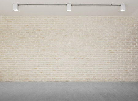 Abstract background from brick wall with grey concrete floor with light from lamps. Vintage studio. Picture for add text message. Backdrop for design art work.