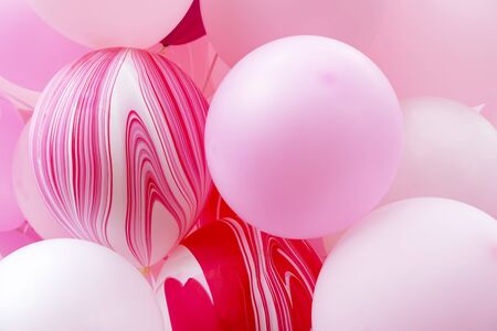 Closeup of pink balloons. Abstract background. Celebration party and decoration backdrop. Reklamní fotografie