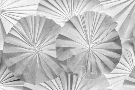 Pattern of paper art work as flower shape decorated on wall. Abstract background.