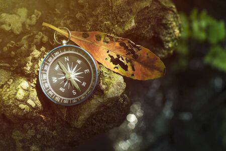 Travel background, compass on ground with leaf in nature with sunlight. Success concept. Stok Fotoğraf - 132124323