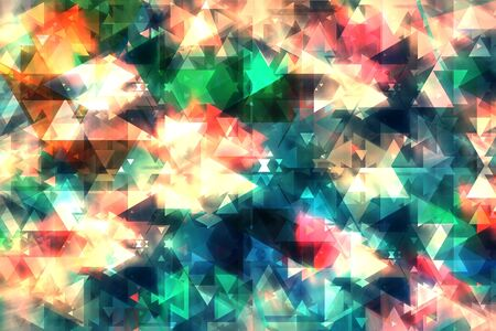 Abstract background from double exposure of colorful triangle shape with light. Technology background.