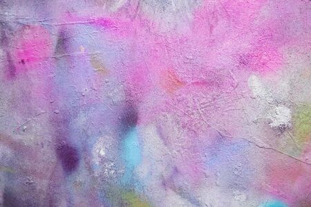 Abstract background from colorful water color painted on old concrete wall.