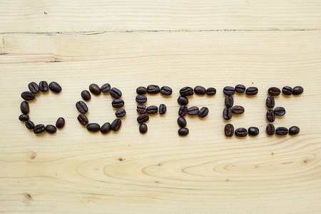love pic: beans coffee on wood table